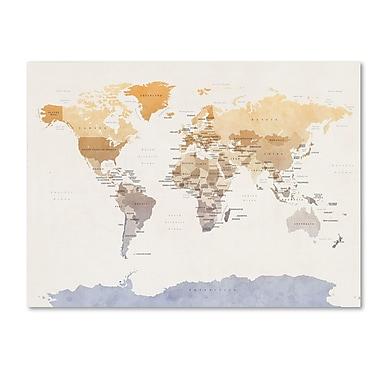 Trademark Fine Art ''Watercolour Political Map of the World'' by Michael Tompsett 18