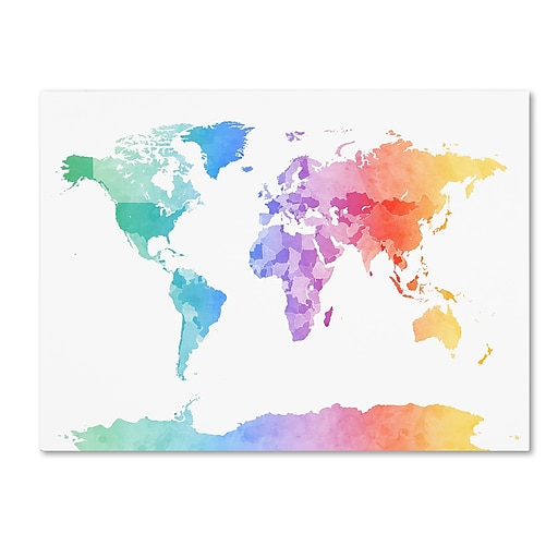 "Trademark Fine Art ''Watercolor Map of the World'' by Michael Tompsett 24"" x 32"" Canvas Art (MT0875-C2432GG)"