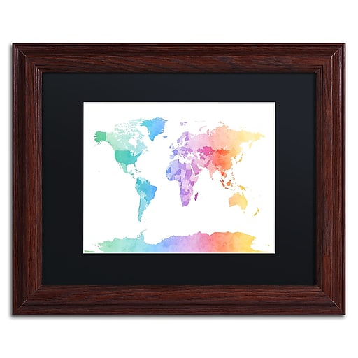 """Trademark Fine Art ''Watercolour Map of the World'' by Michael Tompsett 11"""" x 14"""" Black Matted Wood Frame (MT0875-W1114BMF)"""