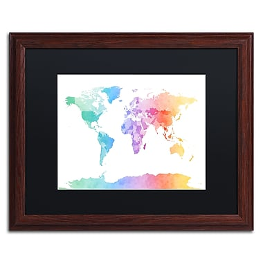 Trademark Fine Art ''Watercolour Map of the World'' by Michael Tompsett 16