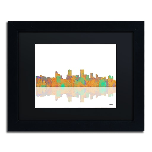 "Trademark Fine Art ''Anchorage Alaska Skyline'' by Marlene Watson 11"" x 14"" Black Frame (MW0037-B1114BMF)"