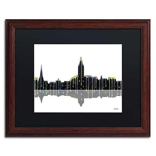 "Trademark Fine Art ''Annapolis Maryland Skyline'' by Marlene Watson 16"" x 20"" Black Matted Wood Frame (MW0039-W1620BMF)"