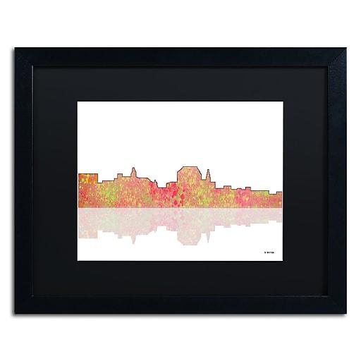 """Trademark Fine Art ''Augusta Maine Skyline'' by Marlene Watson 16"""" x 20"""" Black Matted Black Frame (MW0041-B1620BMF)"""