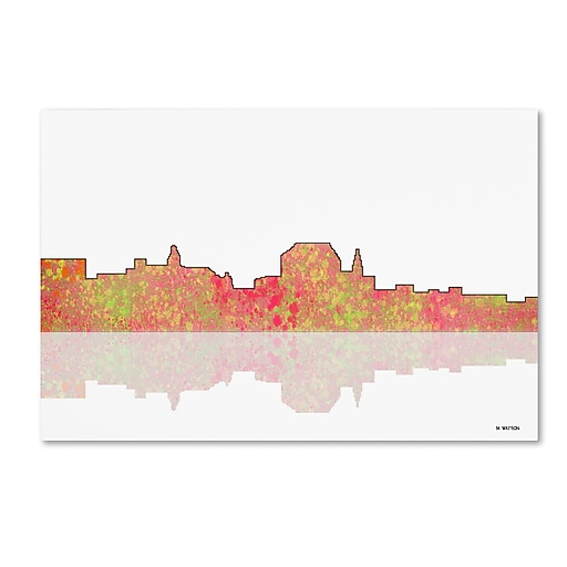 """Trademark Fine Art ''Augusta Maine Skyline'' by Marlene Watson 16"""" x 24"""" Canvas Art (MW0041-C1624GG)"""