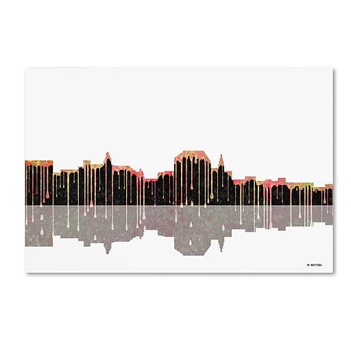 """Trademark Fine Art ''Augusta Maine Skyline'' by Marlene Watson 16"""" x 24"""" Canvas Art (MW0042-C1624GG)"""