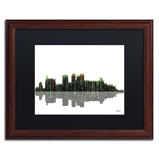 "Trademark Fine Art ''Birmingham Alabama Skylin'' by Marlene Watson 16"" x 20"" Black Matted Wood Frame (MW0044-W1620BMF)"