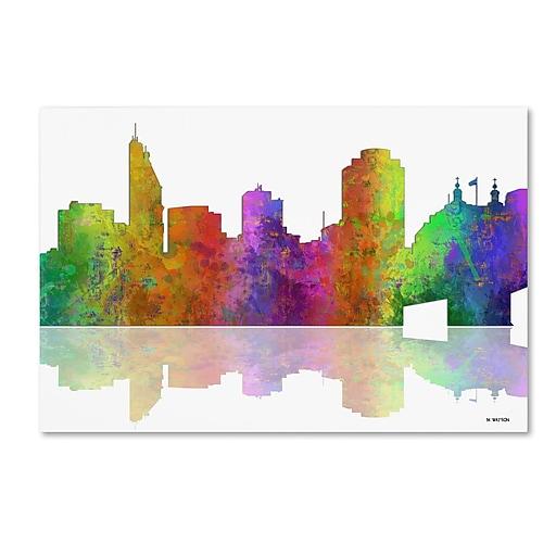 "Trademark Fine Art ''Cincinatti Ohio Skyline'' by Marlene Watson 16"" x 24"" Canvas Art (MW0047-C1624GG)"