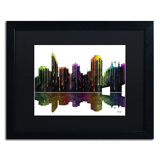 "Trademark Fine Art ''Cincinatti Ohio Skyline'' by Marlene Watson 16"" x 20"" Black Matted Black Frame (MW0048-B1620BMF)"