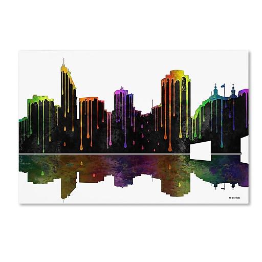 "Trademark Fine Art ''Cincinatti Ohio Skyline'' by Marlene Watson 12"" x 19"" Canvas Art (MW0048-C1219GG)"