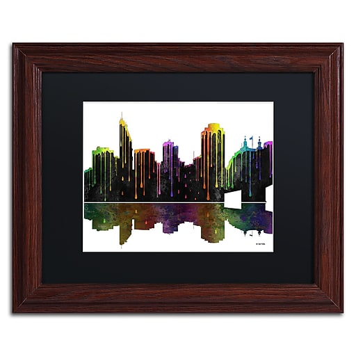 "Trademark Fine Art ''Cincinatti Ohio Skyline'' by Marlene Watson 11"" x 14"" Black Matted Wood Frame (MW0048-W1114BMF)"