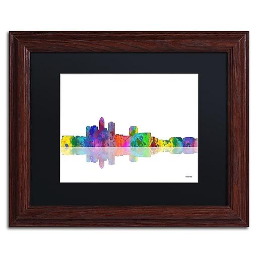 "Trademark Fine Art ''Des Moines Iowa Skyline'' by Marlene Watson 11"" x 14"" Black Matted Wood Frame (MW0049-W1114BMF)"