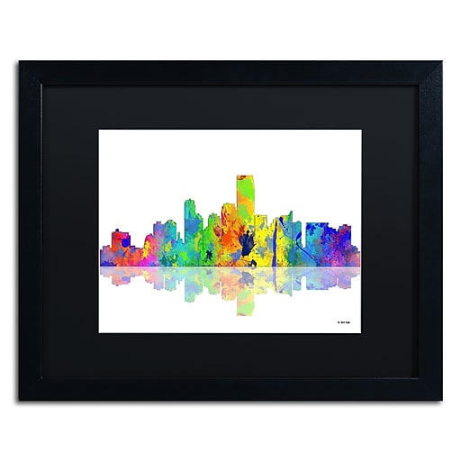 "Trademark Fine Art ''Jersey City New Jersey Skyline'' by Marlene Watson 16"" x 20"" Black Matted Black Frame (MW0051-B1620BMF)"