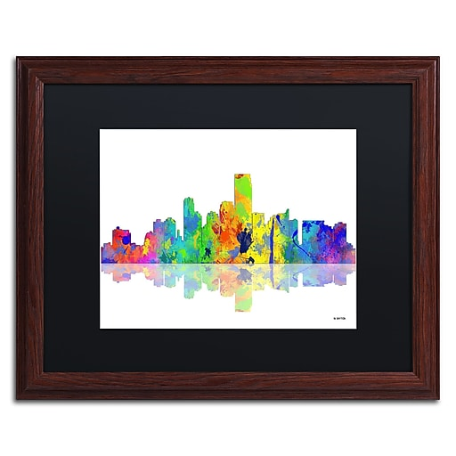 "Trademark Fine Art ''Jersey City New Jersey Skyline'' by Marlene Watson 16"" x 20"" Black Matted Wood Frame (MW0051-W1620BMF)"