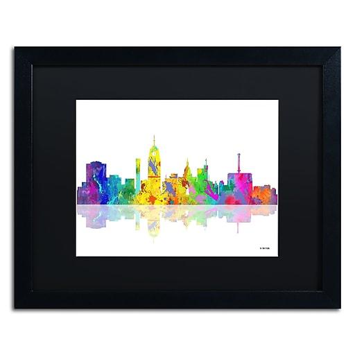 "Trademark Fine Art ''Lansing Michigan Skyline'' by Marlene Watson 16"" x 20"" Black Matted Black Frame (MW0053-B1620BMF)"
