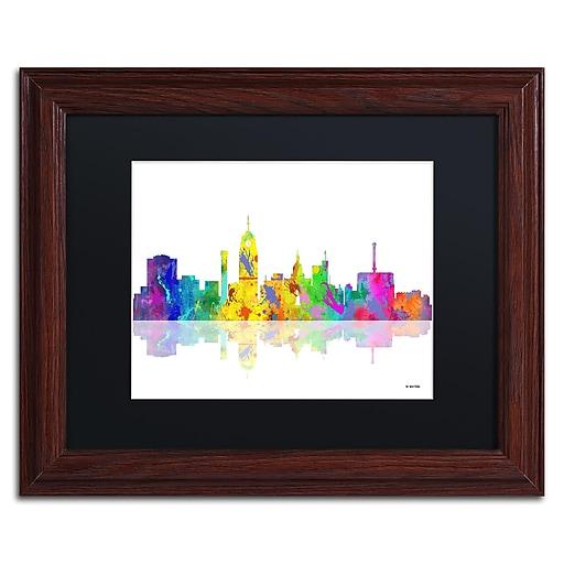 "Trademark Fine Art ''Lansing Michigan Skyline'' by Marlene Watson 11"" x 14"" Black Matted Wood Frame (MW0053-W1114BMF)"
