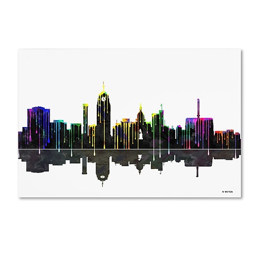 "Trademark Fine Art ''Lansing Michican Skylines'' by Marlene Watson 12"" x 19"" Canvas Art (MW0054-C1219GG)"