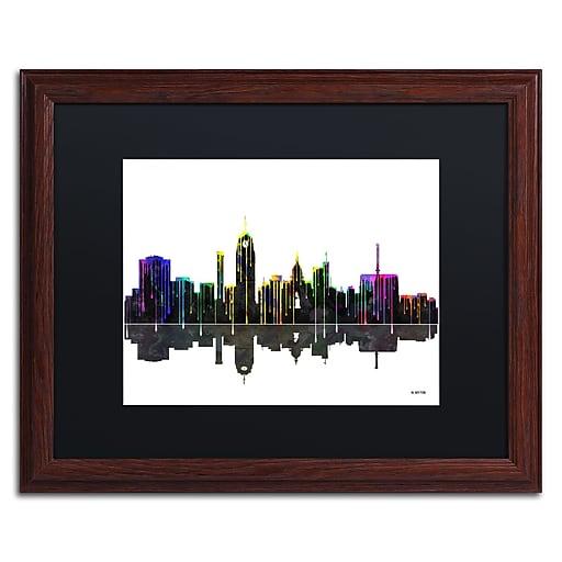 "Trademark Fine Art ''Lansing Michigan Skyline'' by Marlene Watson 16"" x 20"" Black Matted Wood Frame (MW0054-W1620BMF)"