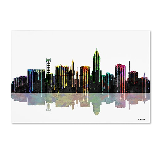 "Trademark Fine Art ''Lincoln Nebraska Skyline'' by Marlene Watson 30"" x 47"" Canvas Art (MW0055-C3047GG)"