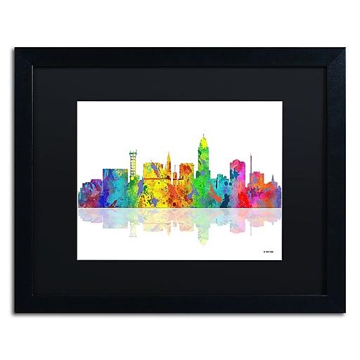 "Trademark Fine Art ''Lincoln Nebraska Skyline'' by Marlene Watson 16"" x 20"" Black Matted Black Frame (MW0056-B1620BMF)"