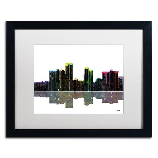 "Trademark Fine Art ''Little Rock Arkansas Skyline'' by Marlene Watson 16"" x 20"" White Matted Black Frame (MW0058-B1620MF)"
