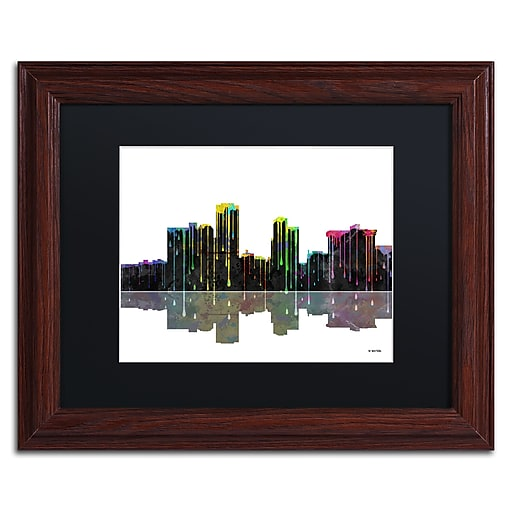 """Trademark Fine Art ''Little Rock Arkansas Skyline'' by Marlene Watson 11"""" x 14"""" Black Matted Wood Frame (MW0058-W1114BMF)"""