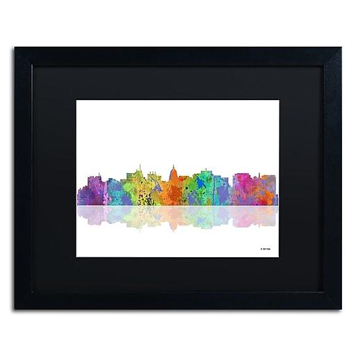 "Trademark Fine Art ''Madison Wisconsin Skyline'' by Marlene Watson 16"" x 20"" Black Matted Black Frame (MW0059-B1620BMF)"