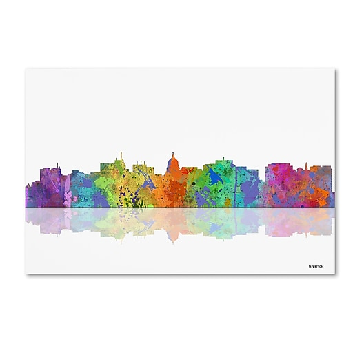 "Trademark Fine Art ''Madison Wisconsin Skyline'' by Marlene Watson 30"" x 47"" Canvas Art (MW0059-C3047GG)"