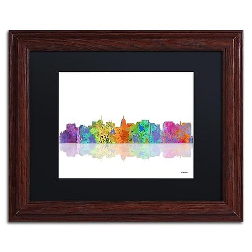 "Trademark Fine Art ''Madison Wisconsin Skyline'' by Marlene Watson 11"" x 14"" Black Matted Wood Frame (MW0059-W1114BMF)"