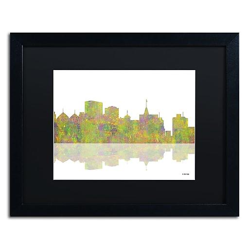 "Trademark Fine Art ''Oakland California Skyline'' by Marlene Watson 16"" x 20"" Black Matted Black Frame (MW0061-B1620BMF)"