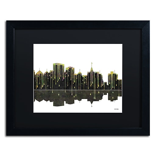 "Trademark Fine Art ''Oakland California Skyline'' by Marlene Watson 16"" x 20"" Black Matted Black Frame (MW0062-B1620BMF)"