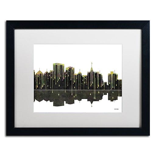 "Trademark Fine Art ''Oakland California Skyline'' by Marlene Watson 16"" x 20"" White Matted Black Frame (MW0062-B1620MF)"