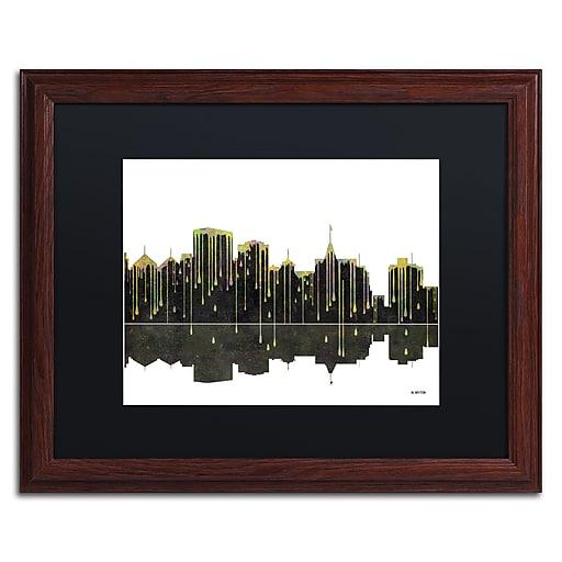 "Trademark Fine Art ''Oakland California Skyline'' by Marlene Watson 16"" x 20"" Black Matted Wood Frame (MW0062-W1620BMF)"