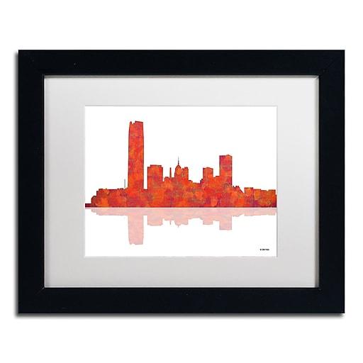 "Trademark Fine Art ''Oklahoma City Oklahoma Skyline'' by Marlene Watson 11"" x 14"" White Matted Black Frame (MW0063-B1114MF)"