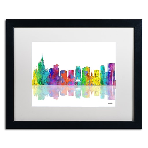 "Trademark Fine Art ''Orlando Florida Skyline'' by Marlene Watson 16"" x 20"" White Matted Black Frame (MW0064-B1620MF)"