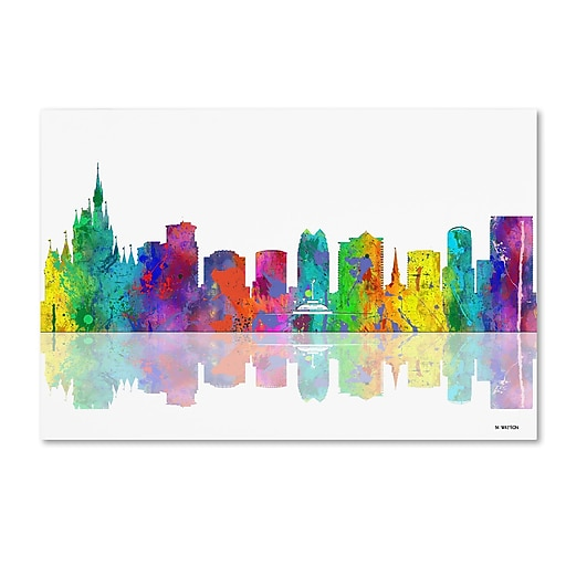 "Trademark Fine Art ''Orlando Florida Skyline'' by Marlene Watson 16"" x 24"" Canvas Art (MW0064-C1624GG)"