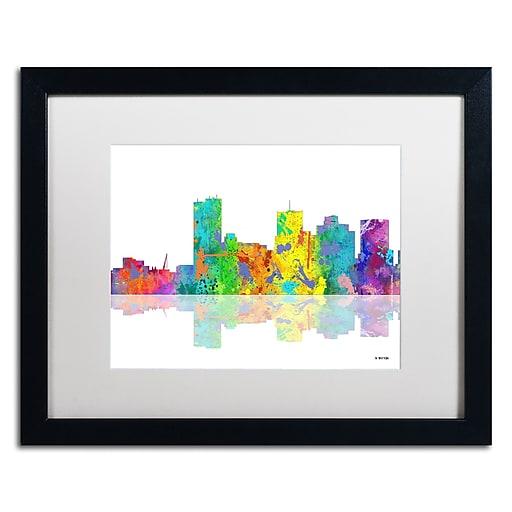 "Trademark Fine Art ''Phoenix Arizona Skyline'' by Marlene Watson 16"" x 20"" White Matted Black Frame (MW0065-B1620MF)"