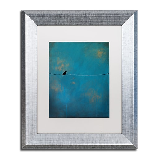"""Trademark Fine Art ''Lone Bird Blue'' by Nicole Dietz 11"""" x 14"""" White Matted Silver Frame (ND073-S1114MF)"""