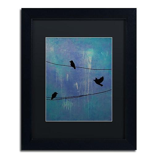 "Trademark Fine Art ''Birds Arrival'' by Nicole Dietz 11"" x 14"" Black Matted Black Frame (ND089-B1114BMF)"