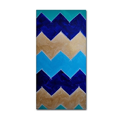 Trademark Fine Art ''Blue and Gold Chevron'' by Nicole Dietz 24