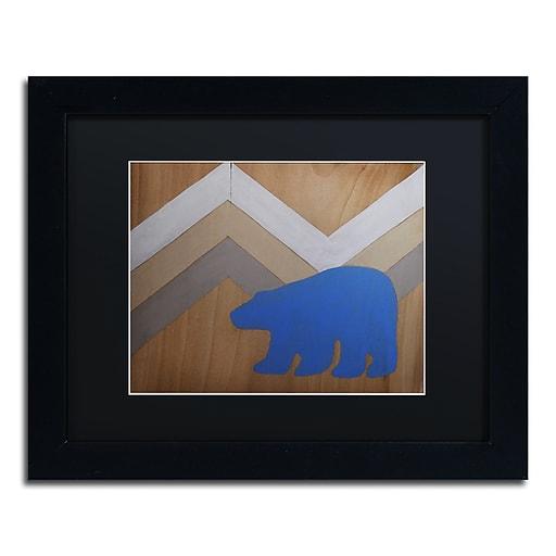 "Trademark Fine Art ''Blue Polar Bear'' by Nicole Dietz 11"" x 14"" Black Matted Black Frame (ND091-B1114BMF)"
