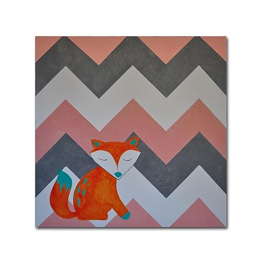 """Trademark Fine Art ''Fox on Chevron'' by Nicole Dietz 18"""" x 18"""" Canvas Art (ND092-C1818GG)"""