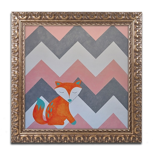 "Trademark Fine Art ''Fox on Chevron'' by Nicole Dietz 11"" x 11"" Ornate Frame (ND092-G1111F)"