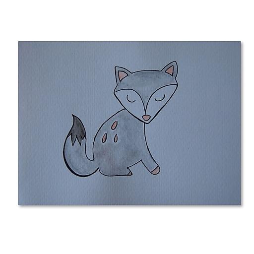 """Trademark Fine Art ''Gray Fox'' by Nicole Dietz 14"""" x 19"""" Canvas Art (ND093-C1419GG)"""
