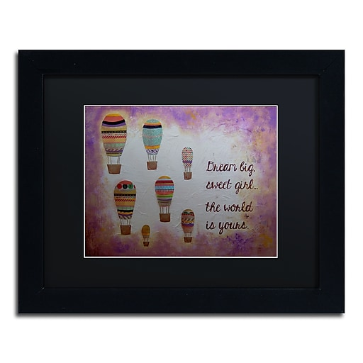 "Trademark Fine Art ''Hot Air Balloons Sweet Girl'' by Nicole Dietz 11"" x 14"" Black Matted Black Frame (ND094-B1114BMF)"