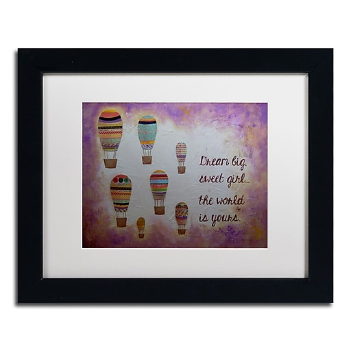 "Trademark Fine Art ''Hot Air Balloons Sweet Girl'' by Nicole Dietz 11"" x 14"" White Matted Black Frame (ND094-B1114MF)"