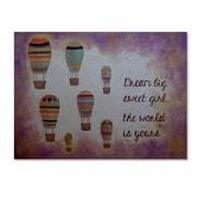 """Trademark Fine Art ''Hot Air Balloons Sweet Girl'' by Nicole Dietz 35"""" x 47"""" Canvas Art (ND094-C3547GG)"""