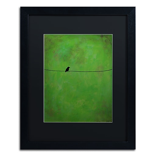 "Trademark Fine Art ''Lone Bird Green'' by Nicole Dietz 16"" x 20"" Black Matted Black Frame (ND095-B1620BMF)"