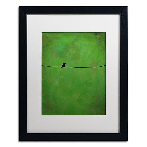 """Trademark Fine Art ''Lone Bird Green'' by Nicole Dietz 16"""" x 20"""" White Matted Black Frame (ND095-B1620MF)"""