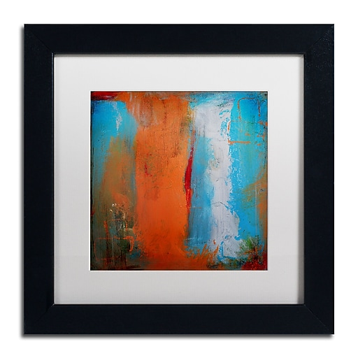 "Trademark Fine Art ''Orange Swatch'' by Nicole Dietz 11"" x 11"" White Matted Black Frame (ND097-B1111MF)"