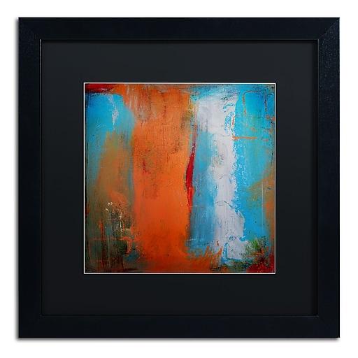 """Trademark Fine Art ''Orange Swatch'' by Nicole Dietz 16"""" x 16"""" Black Matted Black Frame (ND097-B1616BMF)"""